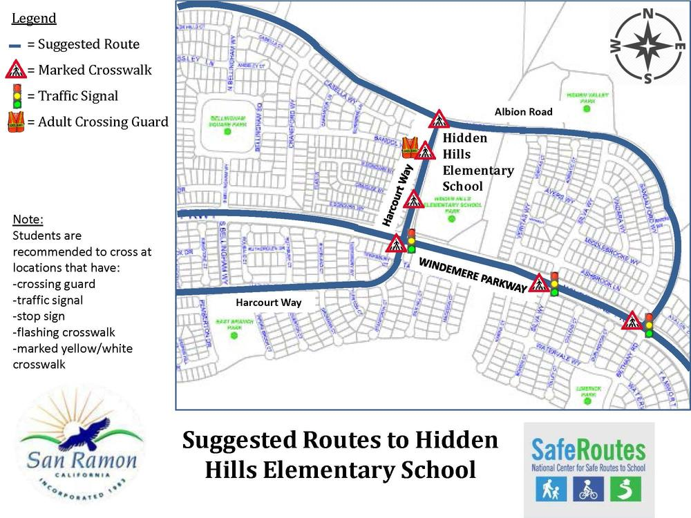 Suggested Routes to Hidden Hills